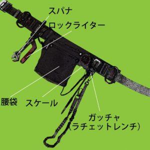 スパナ ロックライター 腰袋 スケール ガッチャ(ラチェットレンチ)